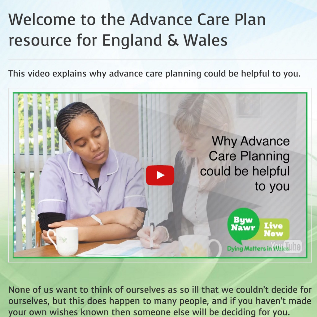 New Advance Care Plan website for England and Wales